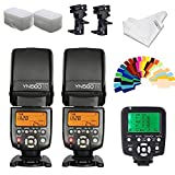 YONGNUO YN560iv Wireless Speedlite 2pcs +YN560TX Flash Controller for Canon Cameras+B Type Flash Swivel Bracket+INSEESI Clean Cloth +2 Flash Diffusers+20 Color Gels