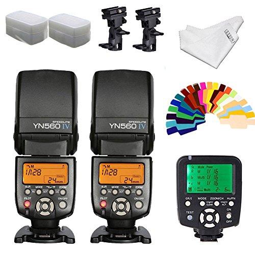YONGNUO YN560iv Wireless Speedlite 2pcs +YN560TX Flash Controller for Nikon Cameras+B Type Flash Swivel Bracket+INSEESI Clean Cloth +2 Flash Diffusers+20 Color Gels by Yongnuo
