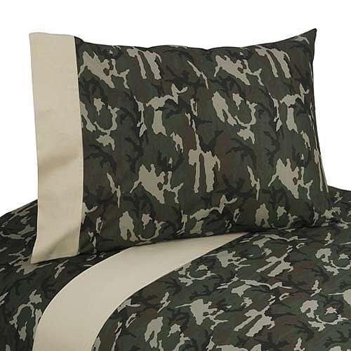 Sweet Jojo Designs 3-Piece Twin Sheet Set for Green Camo Bedding Collection