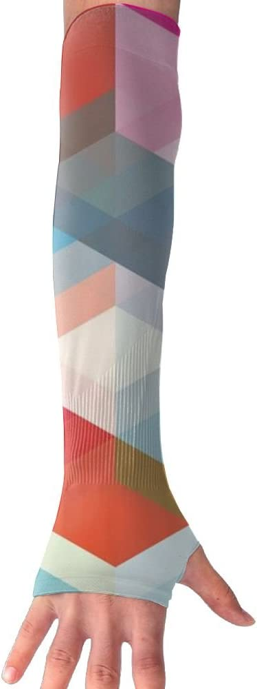MASDUIH Colorful Squares Gloves Anti-uv Sun Protection Long Fingerless Arm Cooling Sleeve for Men and Women