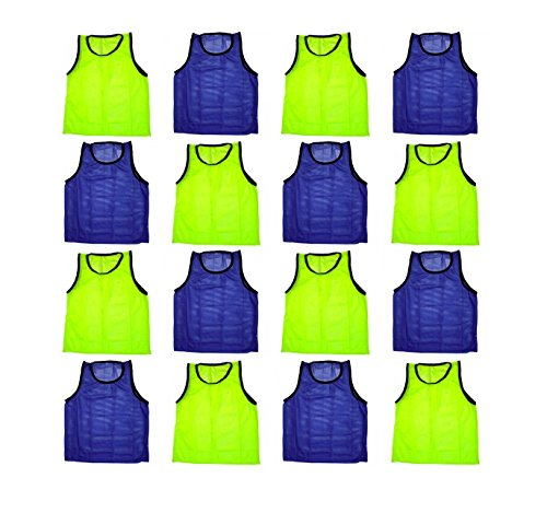 (BlueDot Trading Adult Sports Pinnie Scrimmage Training Vest, Combo Yellow/Blue, 12 Pack)