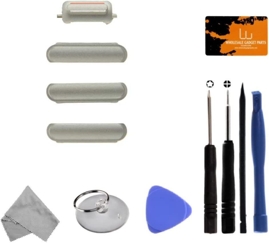 for Apple iPhone 6S Button Set Power, Volume Buttons, /& Mute Switch Silver with Tool Kit CDMA /& GSM