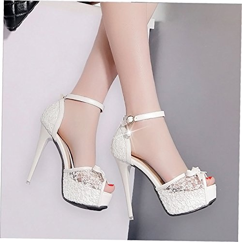 HGTYU Waterproof Lace Mesh Bow S Rhinestones Buckle Shoes Fish Mouth 12Cm S Ultra High Heels Sandals Sweet Fine White 7cJCoZFbY