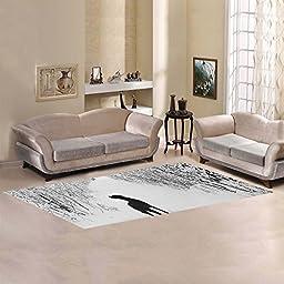 JC-Dress Area Rug Cover Black Dog And White Snow Modern Carpet Cover 10\'x3\'3\