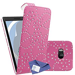 iTALKonline Nokia Lumia 930 Pink Bling Flower Diamond Leaf PU Leather Executive Multi-Function Vertical Flip Wallet Case Cover Organiser with LCD 3 Layer Screen Protector with MicroFibre Cleaning Cloth