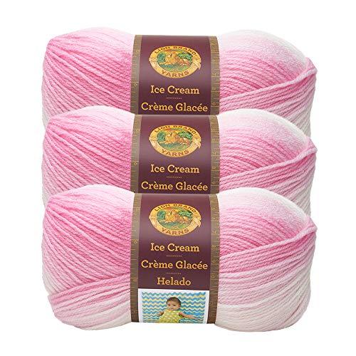 - (3 Pack) Lion Brand Yarn 923-207Z Ice Cream Yarn, Strawberry
