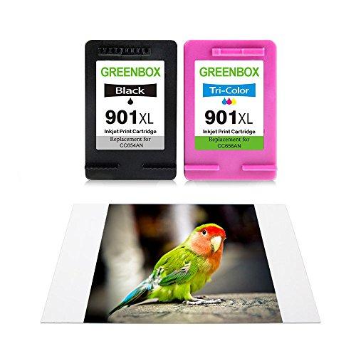 GREENBOX Remanufactured Ink Cartridge for HP 901 901XL High Yield Used in HP Officejet 4500 J4500 J4524 J4535 J4540 J4550 J4580 J4660 J4680 J4680C G510a G510g Printer (1 Black, 1 Tri-Color) Photo #6