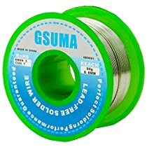 GSUMA 0.6mm 50g / 1.8OZ 21m / 69FT Lead Free Rosin Core Solder Soldering Wire Reel (More Environmentally Friendly Than tin Lead Solder Wire) (Green Wheel)