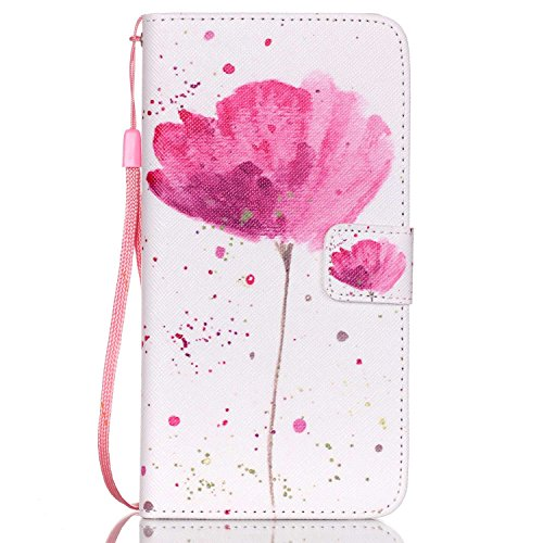 PHEZEN Galaxy Note 5 Case,Galaxy Note 5 Wallet Case, PU Leather Magnetic Closure Stand Flip Cover Credit Card ID Holders with Pink Flower Pattern for Samsung Galaxy Note 5,Lotus