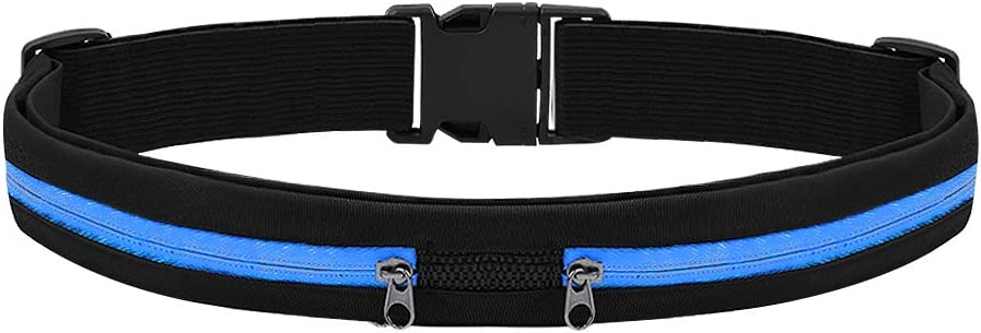 QUOXO Running Belt Waist Pack, Adjustable Water Resistant Runners Belt Pack for Hiking and Fitness