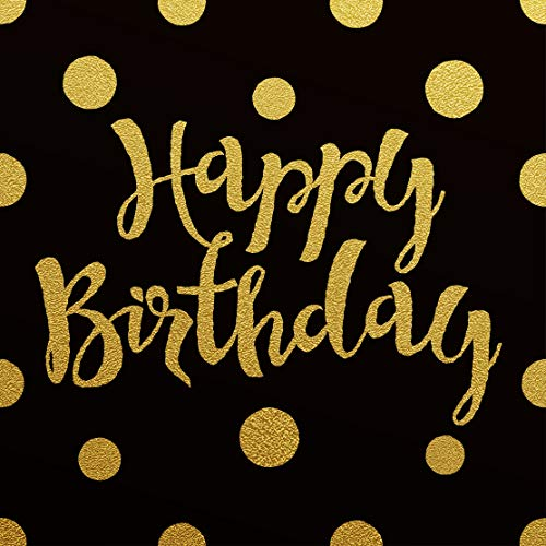 ActivDuo Hardback Black & Gold Happy Birthday Guest Book | Keepsake Gift, Well Wishes, Messages, Comments and Memories | Includes A Gift Log | to Use As You Wish