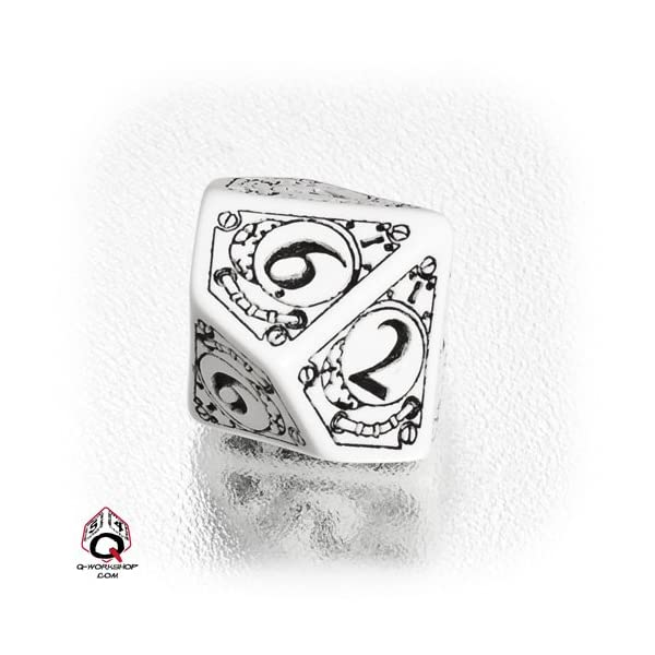 1 (One) Single d10 - Q-Workshop: Carved STEAMPUNK Ten Sided Dice / Die (White / Black) 4