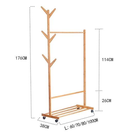 XQAQX Coat Rack Piso de bambú Perchero Simple árbol Tenedor ...