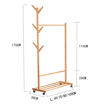 XQAQX Coat Rack Piso de bambú Perchero Simple árbol Tenedor ...