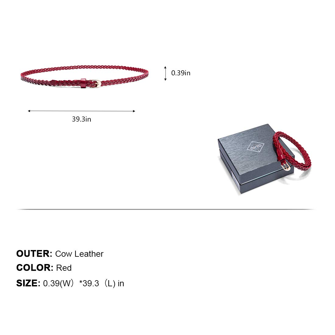 Women Cow Leather Stylish Adjustable Casual Skinny Belts Woven Stretch Braided Red Belts by OMENTAR (Image #3)