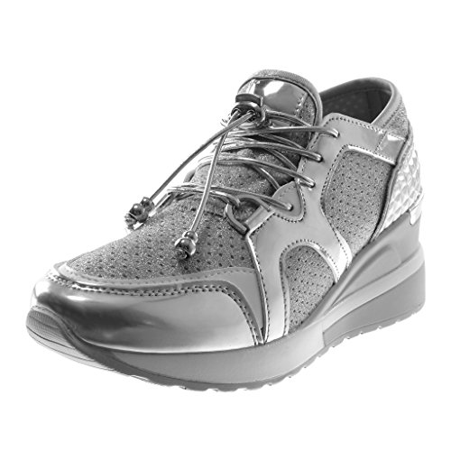 Brillantes Mujer 6 Chic Plataforma Zapato Zapatillas Moda Acolchado Plataforma Plataforma Bimaterial Plata Sporty Angkorly Elástico Deportivos cm q168xwfP