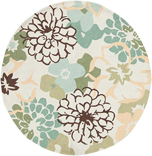 Surya Brentwood BNT-7692 Transitional Hand Hooked 100% Polyester Palm Green 6' Round Floral Area Rug