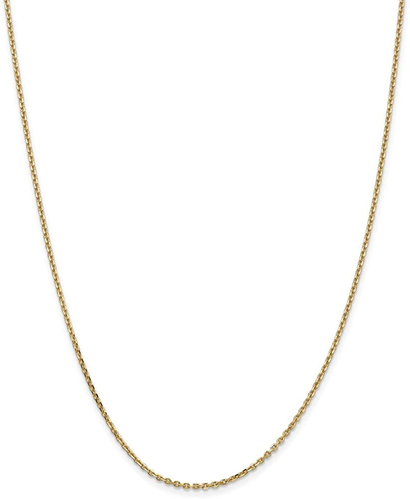 14k 1.65mm Solid Diamond-Cut Cable Chain