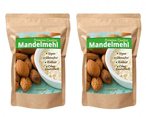 Mynatura 100% weißes Mandelmehl gemahlen( Low carb, glutenfrei, Feines, Ballaststoffen,veganenund Shakes), 2er Pack ( 2x1000g )