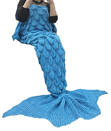 Coroler Stylish Queen Mermaid Tail Blanket Large Tail with Scale Patterns for Girls and Women,Crochet Knitting Sleeping Bag Best Birthday, -