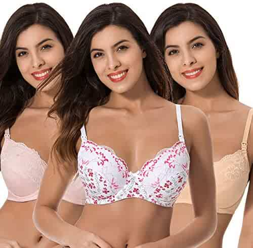 4bc126ff06 Curve Muse Plus Size Nursing Underwire Bra with Drop-Down Cups (Pack of 3