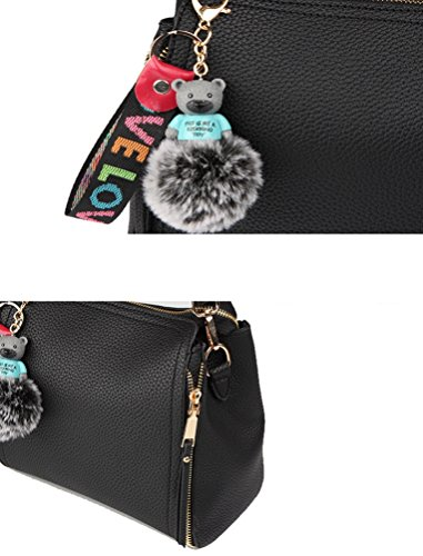 Shoulder Hairball Handbag Messenger Bear Decoration ZhiYuanAN Zipper Fashion Women Bag Stria Black Multifunction Comfortable PU Litchi xwYBz71q