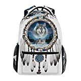 School Backpack Wolf Wind Chimes Teens Girls Boys Schoolbag Travel Bag