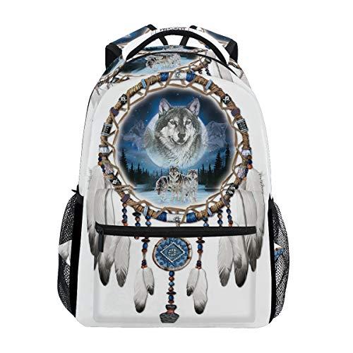 School Backpack Wolf Wind Chimes Teens Girls Boys Schoolbag Travel Bag