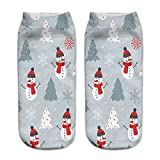 Charberry Clearance Unisex Santa Claus 3D Printed Christmas Casual Socks Low Cut Ankle Socks (I)