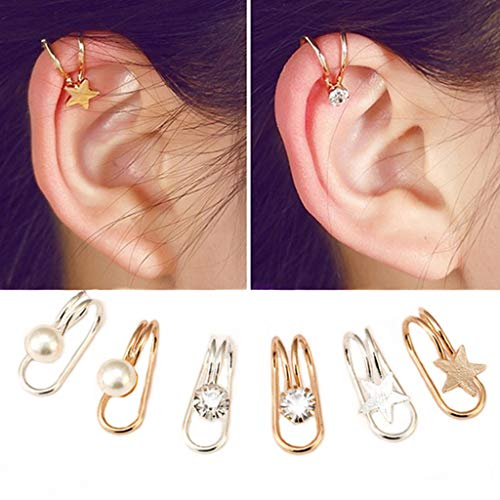 Ear Clip - 6Pcs Ear Cuffs Non-Piercing Ear Bone Clip U-type Cartilage Ear Clip Ear Cuff Clip Wrap Set Valentine's Day Birthday Christmas Anniversary Gifts