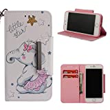 Leather Wallet Case for iPhone 8 Plus/iPhone 7 Plus,Shinyzone Cute Cartoon Animal Elephant Painted Pattern Flip Stand Case,Wristlet & Metal Magnetic Closure Protective Cover