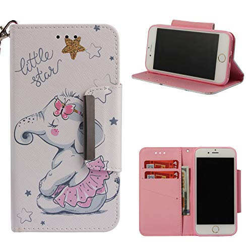Leather Wallet Case for iPhone 8 Plus/iPhone 7 Plus,Shinyzone Cute Cartoon Animal Elephant Painted Pattern Flip Stand Case,Wristlet & Metal Magnetic Closure Protective Cover by Shinyzone
