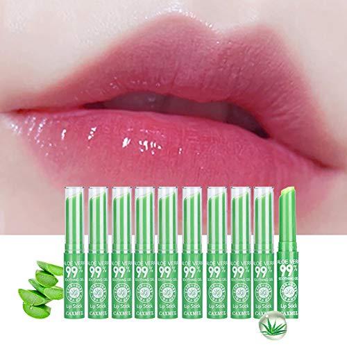 10 Pcs Aloe Vera Lip Balm Moisturizing Soothing Lips Temperature Color Change Lip Care