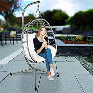 Divine Style Collapsible Rattan Hanging Egg Swing with Stand