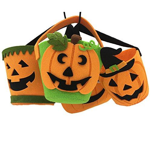 AIVIAI Halloween Candy Bag Bucket Pumpkin Bucket Halloween Candy Pot 4packs -