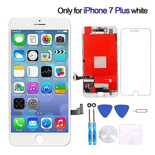 Screen Replacement Compatible with iPhone 7 Plus Screen Replacement LCD Touch Screen Display Digitizer Assembly Replacement with Screen Protector and Repair Tools for iPhone 7 Plus Screen Repair White