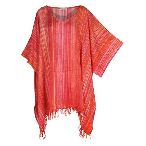 Tropicalsale Women's Plus Size Vermilion Striped Caftan Tunic Hippy Party Top