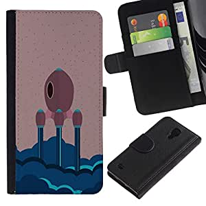 All Phone Most Case / Oferta Especial Cáscara Funda de cuero Monedero Cubierta de proteccion Caso / Wallet Case for Samsung Galaxy S4 IV I9500 // MINIMALIST SPACE SHIP