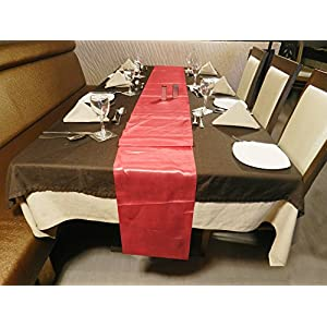 ELINA'S PACK OF 10 Wedding 12 x 108 inch Satin Table Runner Wedding Banquet Decoration (10, CORAL)
