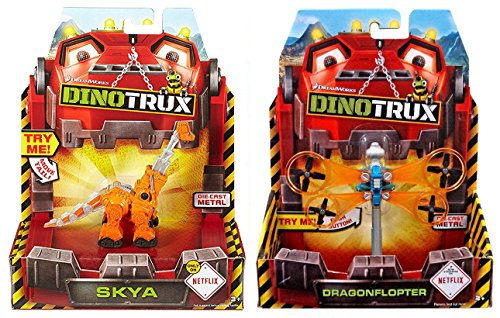 Mattel Dinotrux Dragonflopter 2017 & SKYA Construction Dinosaurs Series 2-Pack