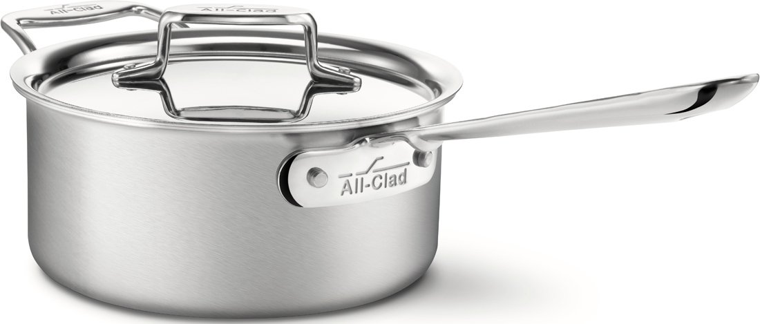 All-Clad BD55203 D5 Brushed 18/10 Stainless Steel 5-Ply Bonded Dishwasher Safe Sauce Pan with Lid Cookware, 3-Quart, Silver