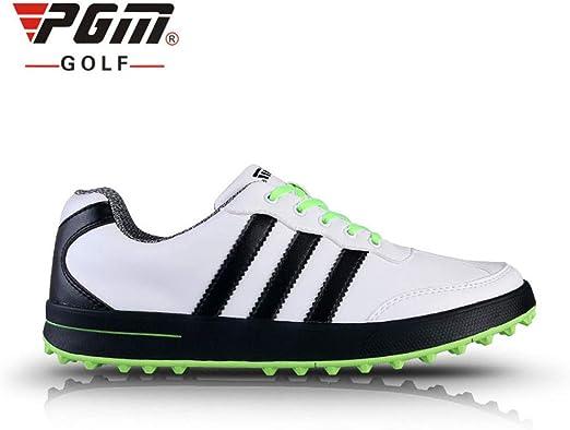 AUZZO HOME Hombres PGM Spikeless Campo de Zapatos Anti-torsión Skid Impermeable Ligera Campo de Las Zapatillas de Deporte de Microfibra de Cuero Zapatos de la Zapatilla de Golf,Verde,45: Amazon.es: Hogar