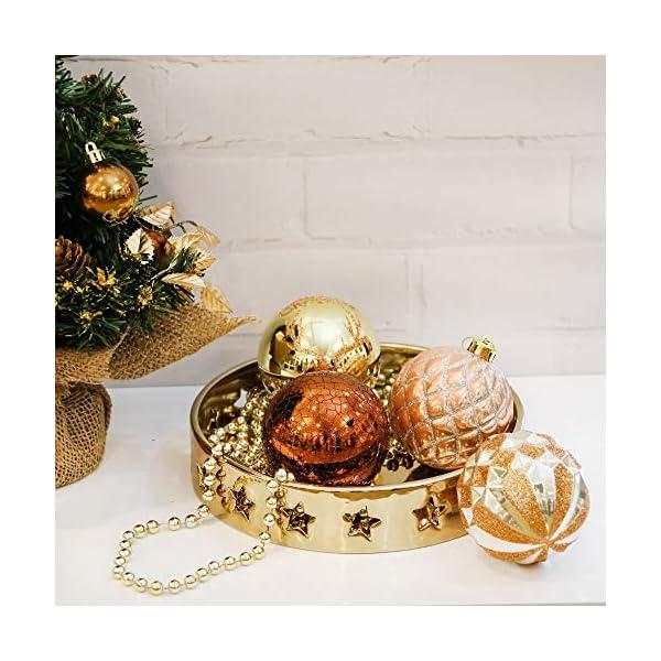 Valery Madelyn Palle di Natale 16 Pezzi 8cm Palline di Natale, Rame da Bosco e Oro Infrangibile Palla di Natale Ornamenti Decorazione per la Decorazione Dell'Albero di Natale 5 spesavip