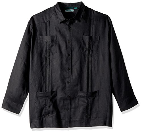 Mojito Collection (Cubavera Men's Big and Tall Long-Sleeve 100% Linen Guayabera Shirt, Jet Black, 2XLT)