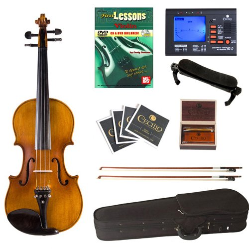 Cecilio CVN-500 Antique Flamed Ebony Violin+Tuner, 2 Bows, Shoulder Rest, Extra Strings & Lesson Book in 4/4 (Full Size) by Cecilio