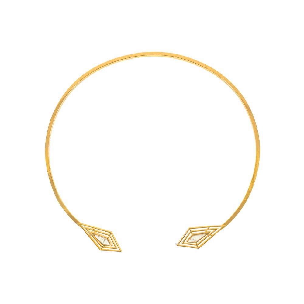 18k Gold Plated Brass Howlite Statement Necklace