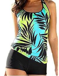 Crazycatz@Women Plus size Two Pieces Tankini Sets Swimwear with boyshort