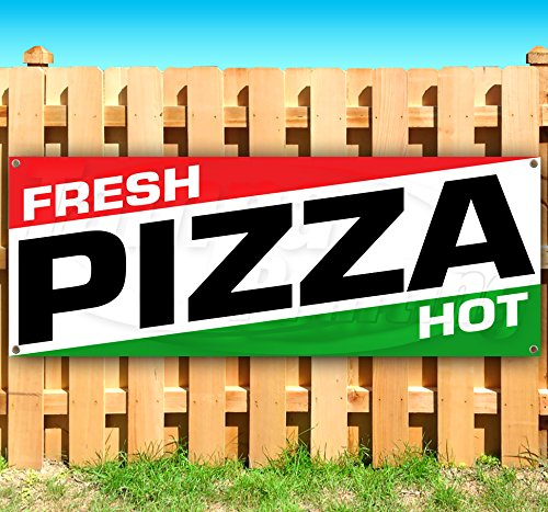 Fresh Pizza HOT 13 oz Heavy Duty Vinyl Banner Sign with Metal Grommets, New, Store, Advertising, Flag, (Many Sizes Available) by Tampa Printing