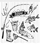 Ambesonne Fishing Shower Curtain, Hand Drawn