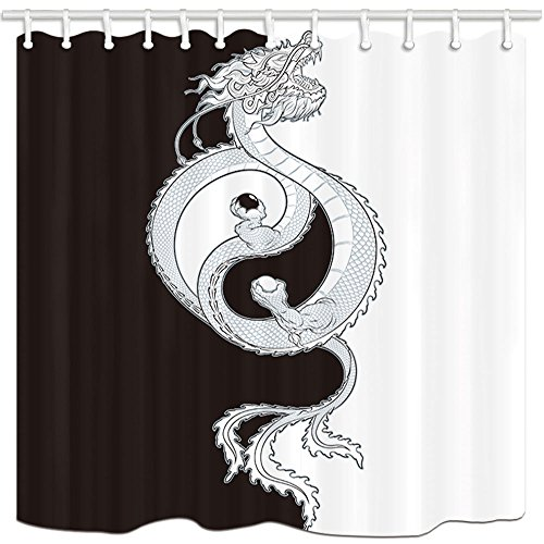 Asian Dragon Tile - KOTOM Asian Decor Shower Curtain, Chinese Dragon and Tai Chi, Polyester Fabric Bath Curtains Set with Hooks 69W X 70L Inches